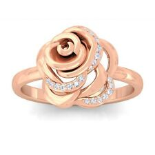 0.09ct FG SI Fine Diamonds Rose Flower Fashion Daily Wear Ring 18K Rose Gold