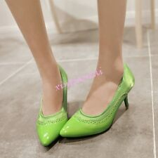 Womens Pointed Toe Office Mid-Heel Shoes Sandals Pumps Slip On Office Plus Size