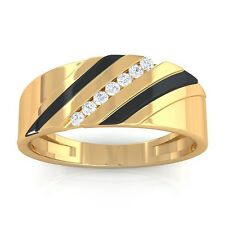 0.08ct FG SI Fine Channel Set Round Diamonds Mens Two Tone Ring 14K Yellow Gold