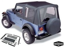1987-1995 Jeep Wrangler Complete Soft Top Kit Upper Doors & Clear Windows Black