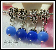 EUROPEAN OR LOBSTER CLASP CLIP SAPPHIRE BLUE CAT'S EYE GLASS BEAD DANGLE CHARMS