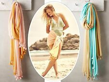 New Anthropologie Liandri Tassel Scarf by Lulla, Peach, Turquoise, Two Toned, $5