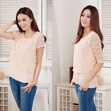 Women Maternity Lace Nursing Top Half Sleeves Double Layers Breastfeeding Tops