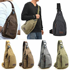 Mens Small Canvas Military Messenger Shoulder Travel Hiking Cycling Bag Backpack