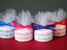 Personalised Tealight Candle Hen Party Favours With Satin Ribbon Set Of 50