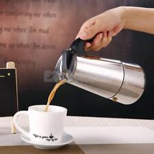 2/4/6/9 Cups Kitchen Stainless Steel Moka Coffee Maker Percolator Stove Top Pot