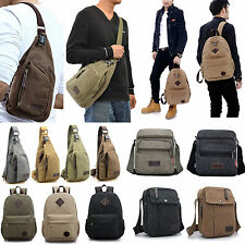 Men Women Vintage Canvas Leather Satchel School Military Shoulder Messenger Bag