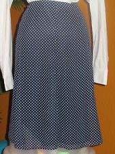 KATE HILL  NWT $108 navy blue and white polka dot women's a-line skirt