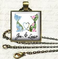 Personalized Love Cats Glass Top Pendant Necklace Wedding Anniversary Gift