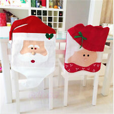 HOT Santa Chair Back Cover Dining Chair Cap Hat Christmas Decoration