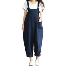 Womens Casual Strap Dungaree Jumpsuits Overalls Long Trousers Harem PantsLAN