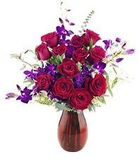 KaBloom Kabloom Ambrosia Roses and Orchids Bouquet - With Vase