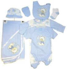 Baby Boys 7 Piece Layette Clothing Gift Set Blue Teddy Design by Just Too Cute