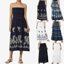 TheMogan Women's Embroidered Tiered A-Line Smocked Waist Long Maxi Denim Skirt