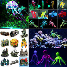 Artificial Glow Fish Grass Plant Coral Ornament Aquarium Fish Tank Landscape New