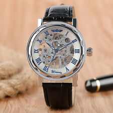 WINNER Roman Numbers Mechanical Hand Wind Skeleton Leather Band Men Wrist Watch