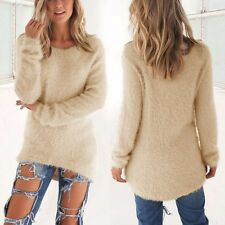 Chic Women's Knitted Pullover Loose Long Sleeve Sweater Jumper Knitwear Apricot