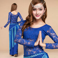 Women New Lace Belly Dance Practice Costume Set Indian Dancewear Top Flare Pants