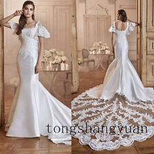Wedding Dresses For Bride Cathedral White Ivory Lace Applique  Bridal Gowns 2017