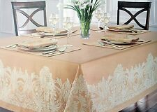 Waterford Tablecloth w/Jacquard Tan Floral On Edge Chapparel/ Wheat Asst. Sizes