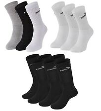 3 PACK PUMA Logo Sports Socks Pairs Mens Womens Ladies Unisex - White Black Grey
