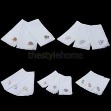 12pcs Ladies Women Vintage Cotton Handkerchief Embroidery Lace Hanky Kerchiefs