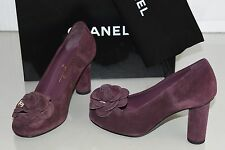 $850 NEW CHANEL 16B Suede Burgundy Camellia Flower Pumps Shoes 36.5 37 38 38.5