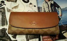 NWT COACH SIGNATURE COATED CANVAS CHECKBOOK WALLET F57319