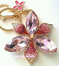 Rhinestone Pink Floral Crystal Lucky Purse Charms Keychain Bling Accessories lot
