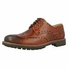 """Clarks """"Montacute Wing"""" Mens Dark Tan Casual Leather Shoes"""