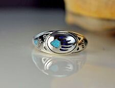 Sterling silver ring w/ inlaid Kingman Turquoise & Lapis Bear Paw Size 8.5