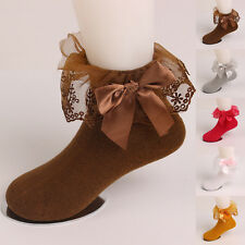 New Cute Children Girls Kids Bow Lace Durable Solid Casual Soft Cotton Socks