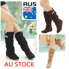 WOMENS LADIES SUEDE FLAT LACE CUFF MID CALF PULL ON PIXIE SLOUCH BOOTS SHOES