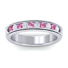 Pink Sapphire FG SI Fine Diamonds Half Eternity Womens Band 10K White Gold