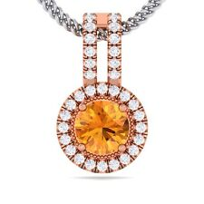 Orange Citrine FG SI Fine Diamond Round Gemstone Pendant Women 18K Rose Gold