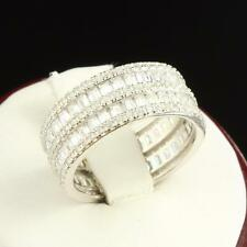 Sterling Silver Eternity Band Promise Ring 3 Row Princess Cut Lab Diamonds 925