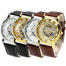 UNISEX ROMAN NUMERALS FAUX LEATHER BAND SKELETON SPORTS DRESS WRIST WATCH AMPLE
