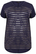 Yoursclothing Plus Size Womens Foil Stripe Top With Dipped Hem