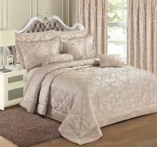 Duvet Cover Bedding Set Luxury Jacquard Bedspread Curtains Cushion All sizes