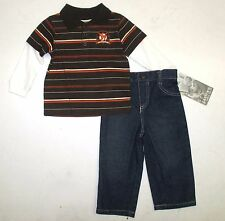 Carters Watch The Wear Boys Polo Shirt 2 Piece Denim Outfit Set 12M 18M 24M NWT