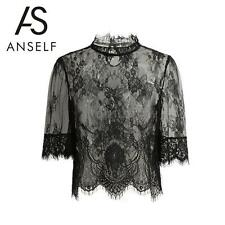 Women Sheer Lace Blouse Embroidery High Neck Half Sleeves Mesh Shirt Tops Q4Y9