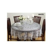 Vinyl Cutwork Tablecloth Synthetic Fiber 72 inches Round Spot Clean White