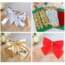 12pcs Christmas Bows Christmas Tree Decoration Accessories Window Decoration