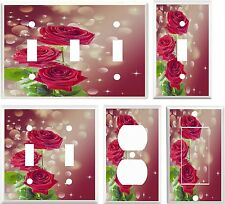 Shades of Red Roses & Sparkles Modern Theme Light Switch Cover Plate
