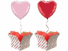 "Valentines Engagement 18"" Love Heart Foil Balloon In A Box Pink Red Wedding Gift"