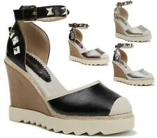 LADIES CHUNKY STUDDED BUCKLE  SANDALS ANKLE WEDGE PLATFORM SHOES CLOSED TOE SIZE