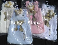 0-6 or 6-12 Months Baby Sleeping Bag & Teddy Bear Soft Cotton 2.5 Tog 4 Colours