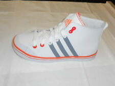 Adidas Vulcster Mid  K Junior Girls Trainers New  White Gray Leather Upper