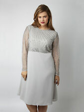 Lovedrobe Luxe Womens Plus Size Sequin Bodice Embellished Midi Dress Grey