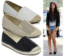 WOMENS FLAT PERFORATED SLIP ON ESPADRILLE SHOES LADIES PUMPS CASUAL COMFORT SHOE